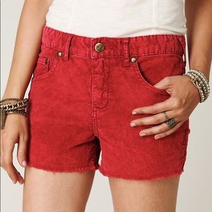 Free People Red Corduroy Shorts